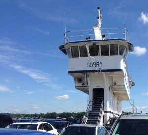 The name of our ferry was the Surry. Waiting a the opposite dock was the Williamsburg. Presumably, the ferry shipping at the same time as we were was the Jamestown.