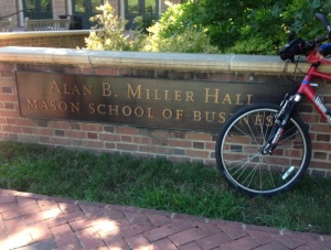 Pedaling through the W&M campus, we took a water break at the new School of Business building.