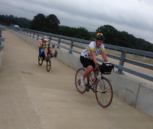 Riding up the Bike Path on the bridge.