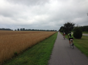 Re-tracing our ride east, in reverse, under a loury sky.