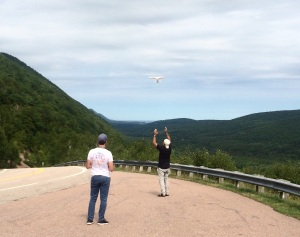 Couple of dudes were flying a drone taking aerial footage of the Cape Breton Mountains.