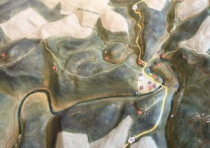 Topo map of the river, Ohiopyle, the Ferncliff Peninsula, and the surrounding area. #6 is Ferncliff, and you can see the