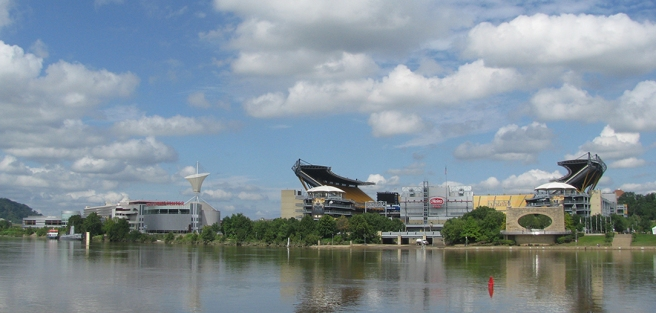 From The Point: Air and Space Museum, Steeler's Stadium, Mr. Rogers Memorial. The part of the bicycle trail that would have gone to these areas of interest was also closed due to mud and other flood hazards.