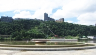 Silent Fountain and the stilled Duquesne Incline up to Mt. Washington, across the Monongahela.