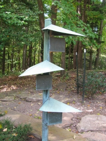 A lighting fixture at the entry drive