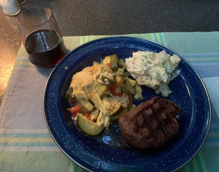 Plated with steak and potato salad