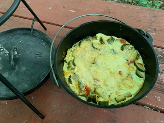 Zucchini bake in Dutch oven